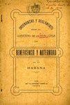 Ordenanzas y Reglamento para el Gobierno de la real casa de Beneficencia y Maternidad de La Habana