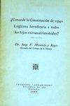 ¿Concede la Constitución de 1940 Legítima Hereditaria a Todos los Hijos Extramatrimoniales?
