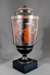 Encaustic vase with lid